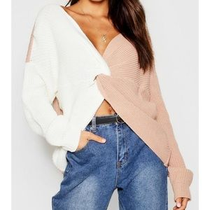 Knitted Twist Front Sweater